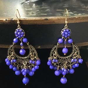 Purple blue Indian style earrings